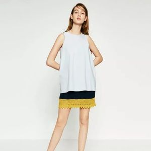 Zara Trafaluc Crochet Sleeveless Mini Dress Blue M